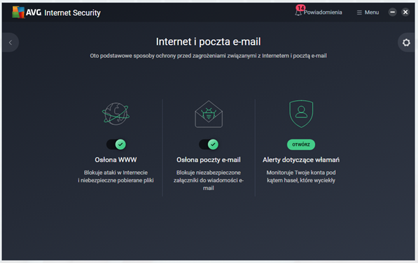 Kafelek Internet i poczta e-mail w AVG Internet Secuirty
