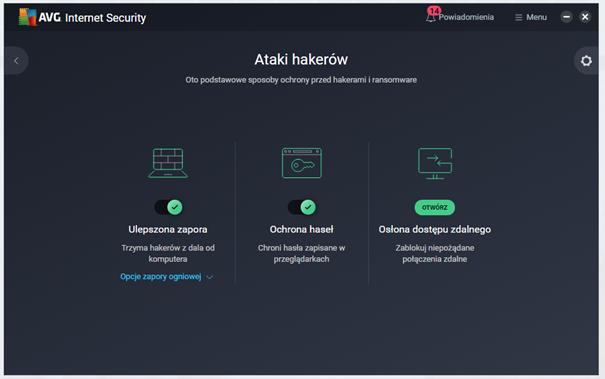 Kafelek Ataki hakerów w AVG Internet Security