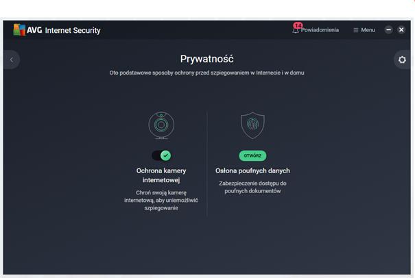 Kafelek Prywatność w AVG Internet Secuirty
