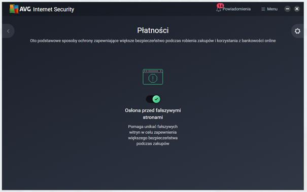 Kafelek Płatności w AVG Internet Secuirty