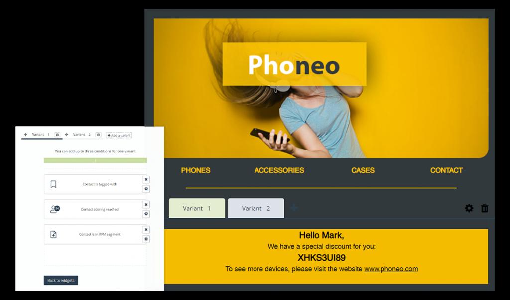 Spersonalizowany formularz kontaktowy na stronie internetowej.