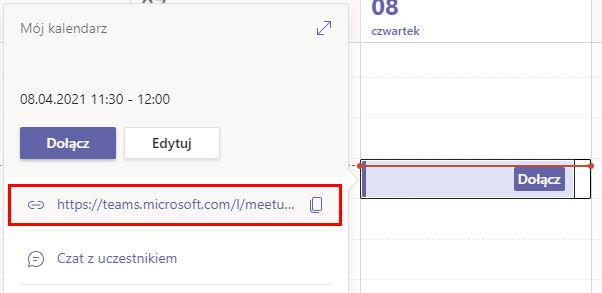 Link spotkania w Kalendarzu Teams