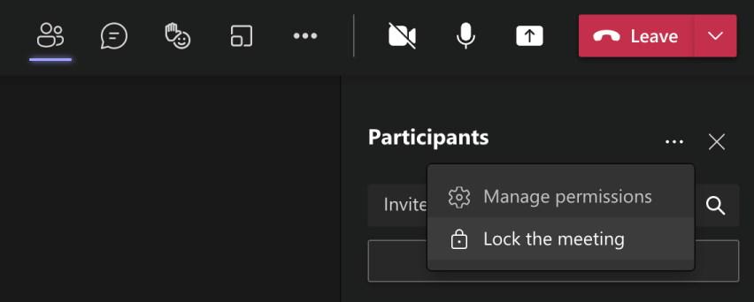 Microsoft Teams - zablokuj spotkanie