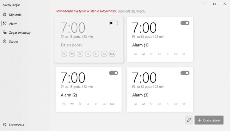 Nowy design aplikacji Alarmy