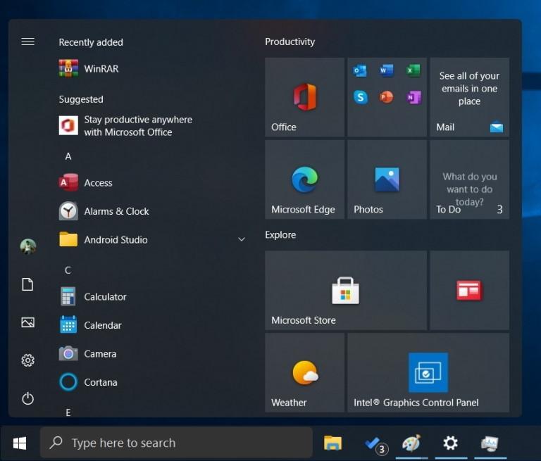 Nowy design menu start Windows 10