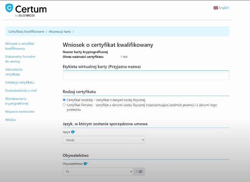 Wniosek o wydanie certyfikatu kwalifikowanego SimplySign