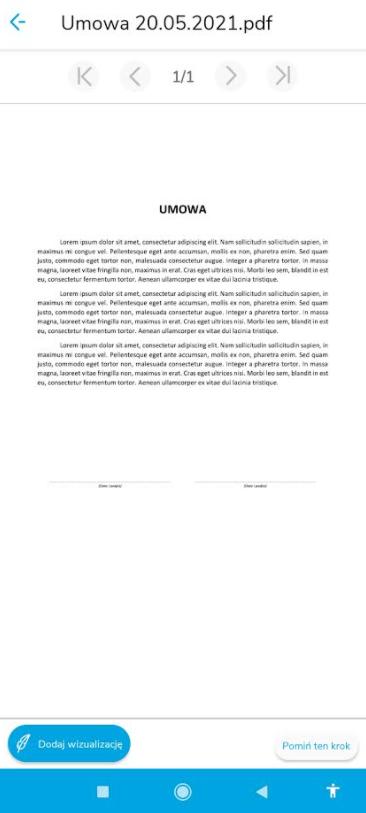 Wizualizacja treści dokumentu w aplikacji mobilnej SimplySign