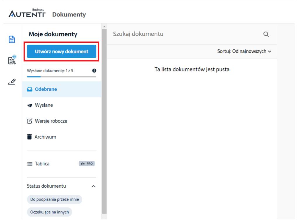 Podpisywanie nowego dokumentu na platformie Autenti