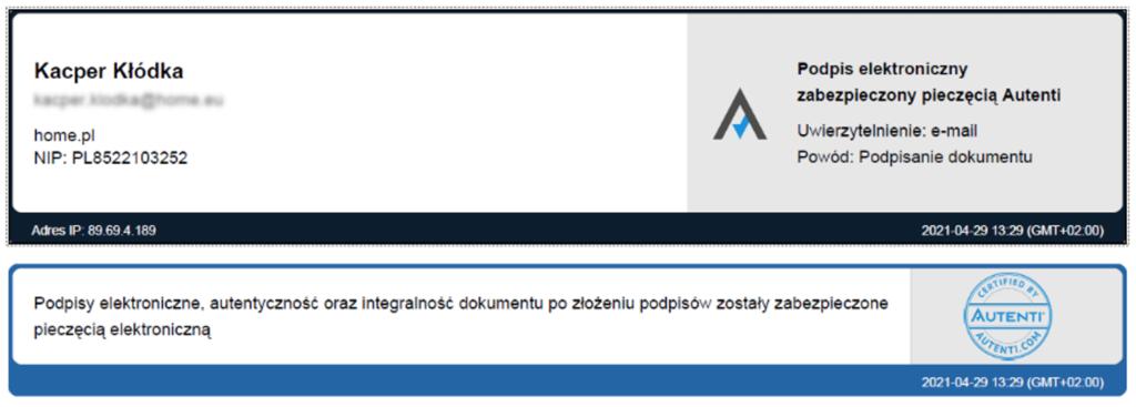 Wizualizacja podpisu w karcie podpisów Autenti. Podpis elektroniczny został potwierdzony pieczęcią elektroniczną Autenti