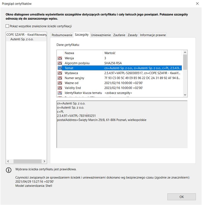 Pieczęć elektroniczna Autenti. Weryfikacja certyfikatu za pomocą Adobe Reader DC