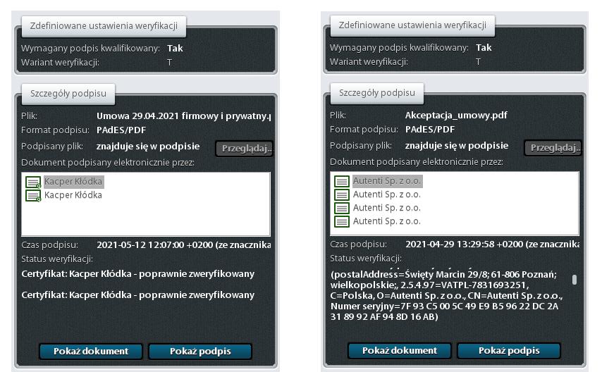 Porównanie weryfikacji podpisów złożonych za pośrednictwem platformy Autenti i SimplySign.