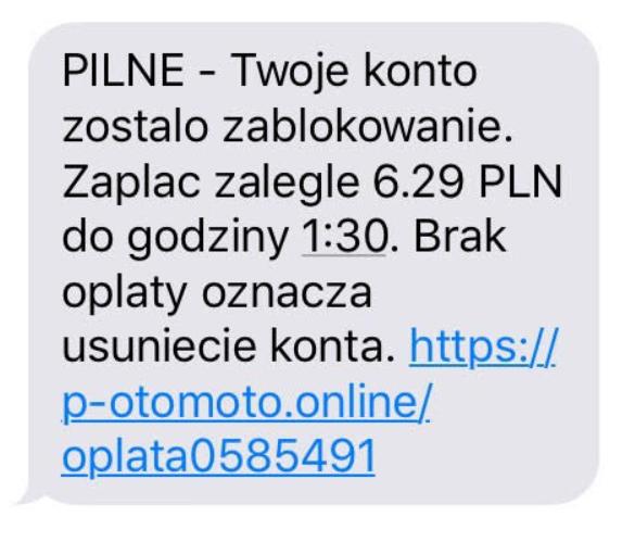 Phishingowy SMS - przykład