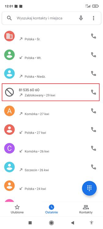 Połączenie przychodzące od phishingowego numeru telefonu