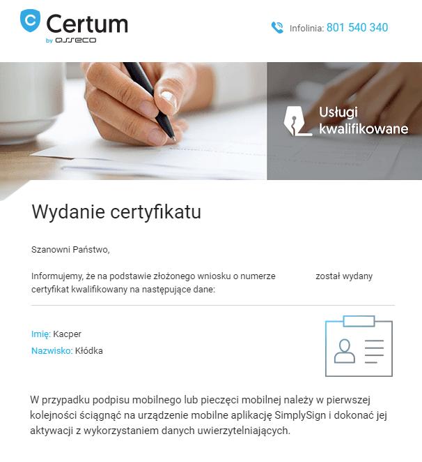 Email z centrum certyfikacji inforumujący o wydaniu certyfikatu