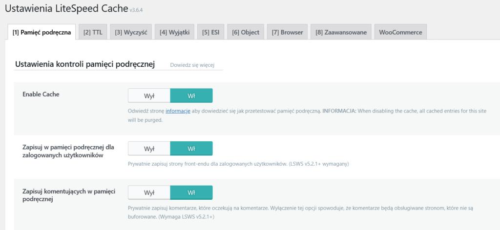 Włączenie wtyczki LS Cache w WordPress