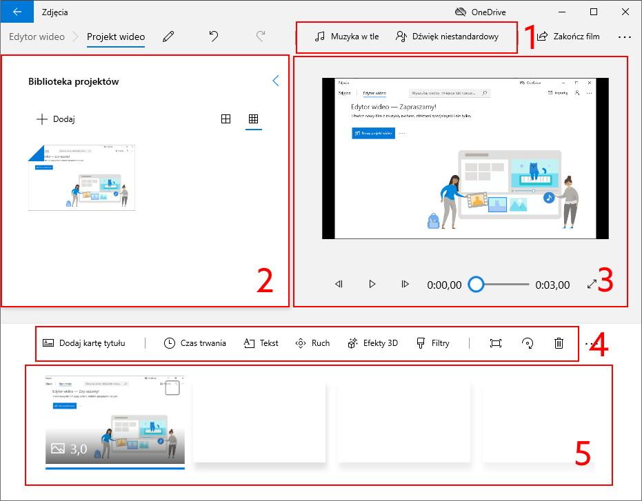 Opis interfejsu Edytora wideo Windows