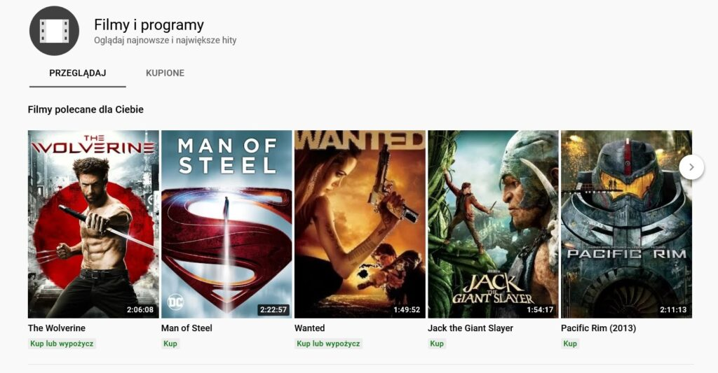 Filmy online na Youtube Movies