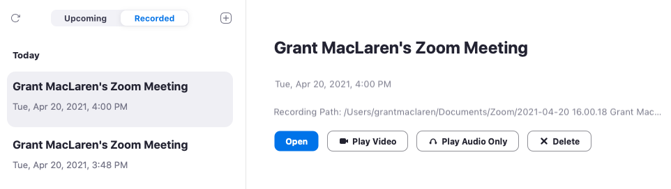 Zoom Meeting zakładka nagrań