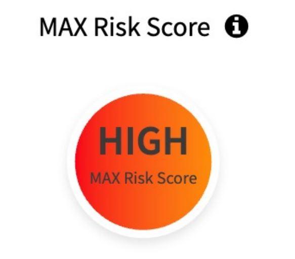 Graficzny wskaźnik Max risk score w SiteLock
