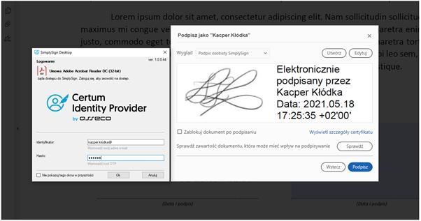 Składanie podpisu elektronicznego na dokumencie PDF w oparciu o kwalifikowany certyfikat osobisty w oprogramowaniu  Adobe Acrobat Reader DC.