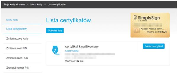 Przykład chmurowego certyfikatu kwalifikowanego, przechowywanego na karcie wirtualnej znajdującej się w infrastrukturze centrum certyfikacji.