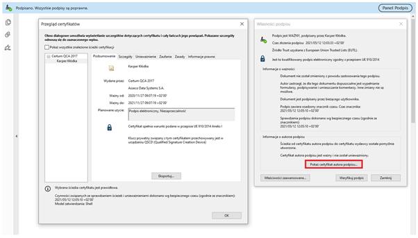 Przykład zastosowania certyfikatu kwalifikowanego w dokumencie PDF. Otrzymany dokument opatrzony podpisem został zweryfikowany w programie Adobe Acrobat Reader DC. Wynik weryfikacji wskazał poprawne zastosowanie podpisu.