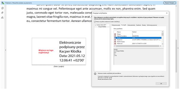 Certyfikat kwalifikowany (firmowy) do rozwiązań biznesowych. Weryfikacja złożonego podpisu w oparciu o kwalifikowany certyfikat firmowy w programie Adobe Acrobat Reader DC.