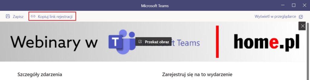 Udostępnij link webinar Microsoft Teams