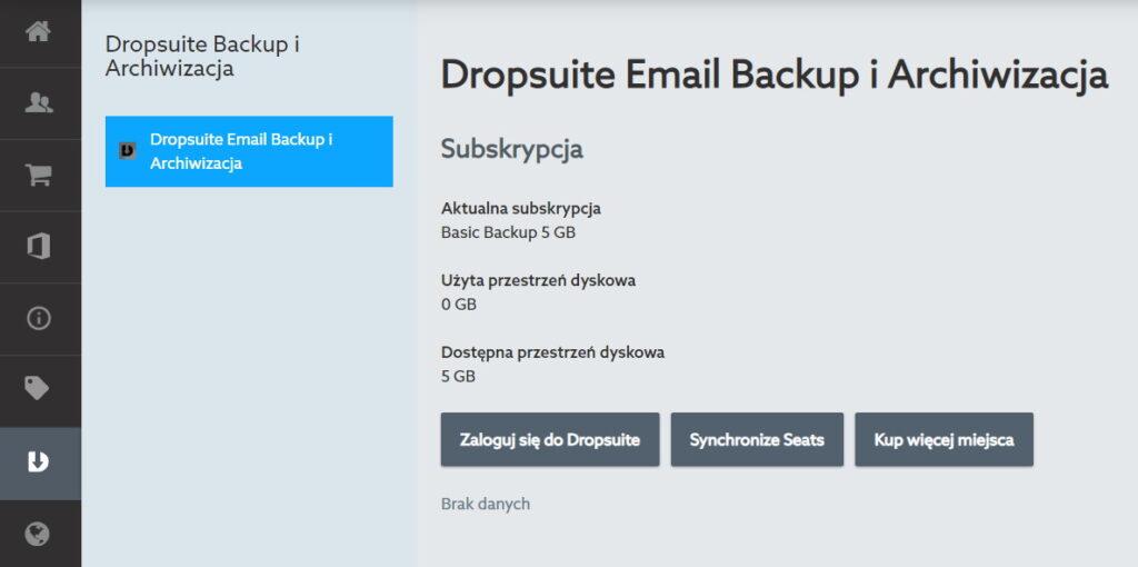 Panel klienta Dropsuite Backup - kopia zapasowa skrzynki email