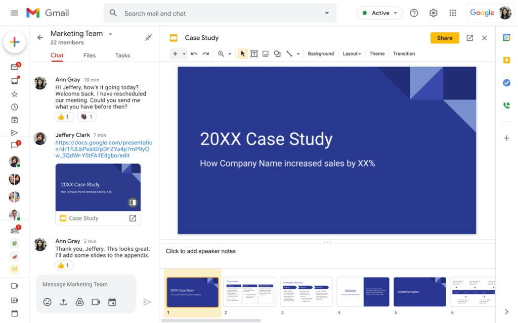 Edytuj prezentacje w Chacie Google