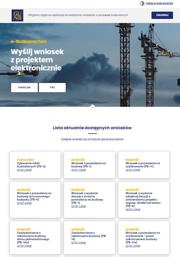 Interfejs rządowej aplikacji do składania wniosków w procesie budowlanym