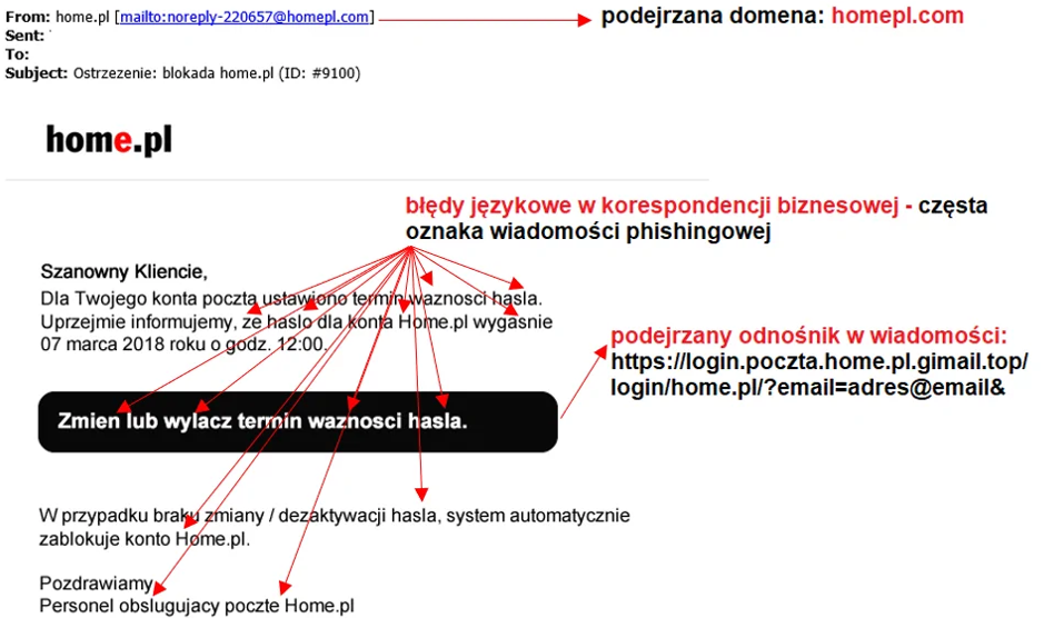 Szeroki atak phishingowy z wykorzystaniem marki home.pl. Cyberprzestępcy próbowali nakłonić użytkowników do podania danych autoryzacyjnych do panelu użytkownika home.pl.
