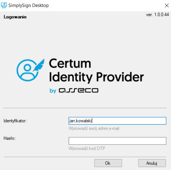 Wpisywanie kodu OTP do aplikacji SimplySign Desktop