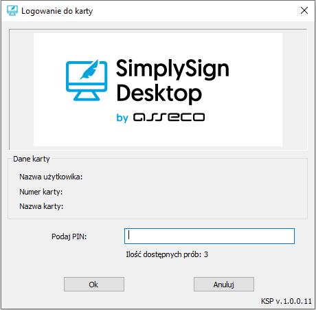 Wpisywanie kodu PIN do certyfikatu kwalifikowanego SimplySign.