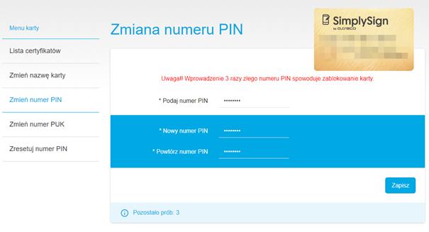 Zmiana numeru PIN dla podpisu elektronicznego SimplySign