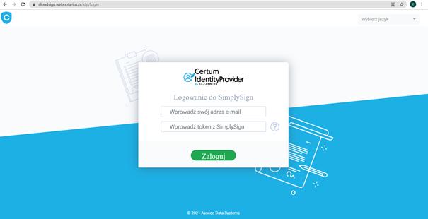 Logowanie do menedżera kart wirtualnych SimplySign