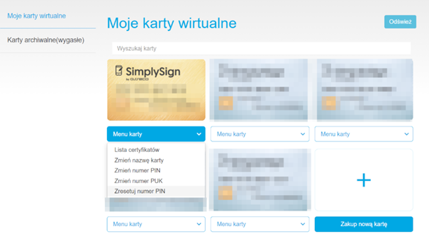 Widok na karty wirtualne SimplySign