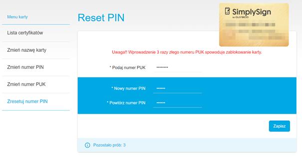 Reset kodu PIN do podpisu elektronicznego SimplySign