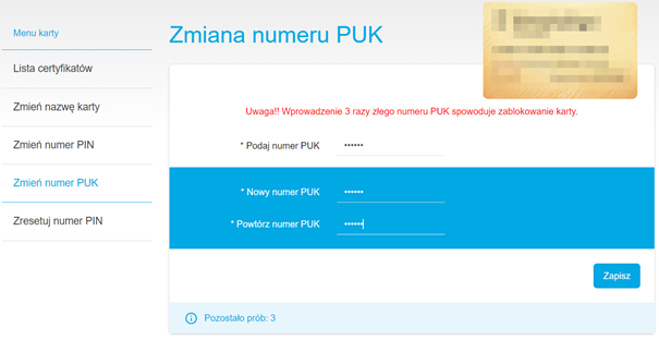 Zmiana numeru PUK dla podpisu elektronicznego SimplySign