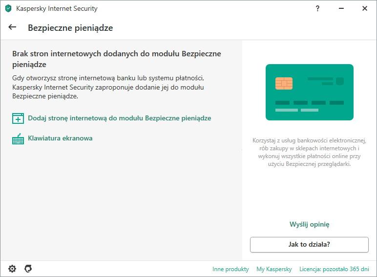 Zabezpieczenia bankowości w antywirusie Kaspersky