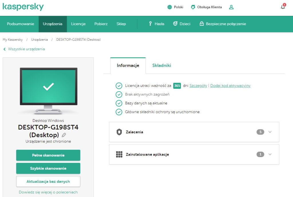 Kontrola bezpieczeństwa online w portalu My Kaspersky
