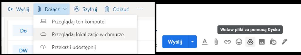 Jak dodać pliki z dysku do Outlook Gmail