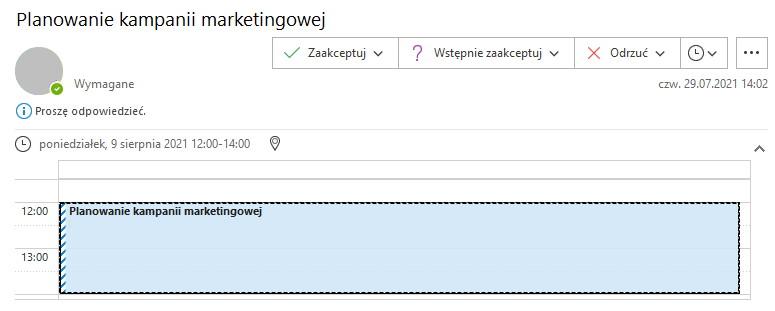 Zaakceptuj spotkanie w Outlook