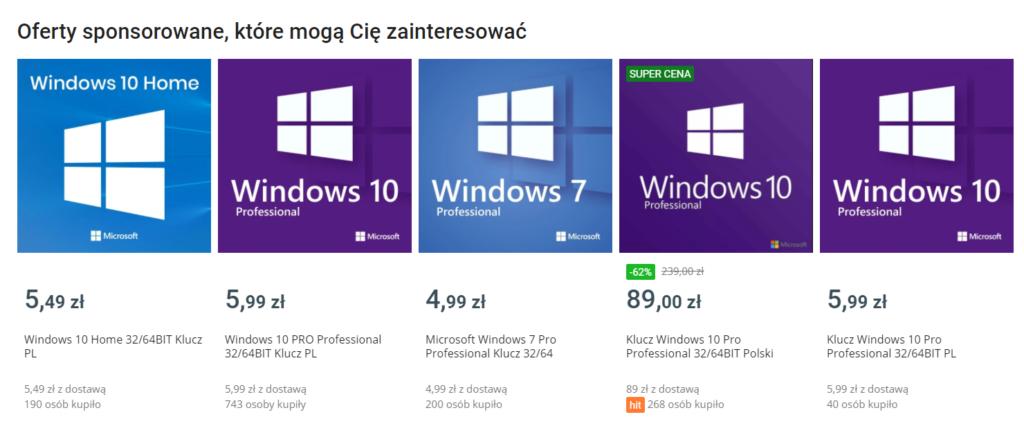 Oferta z tanim Windows 10 na Allegro