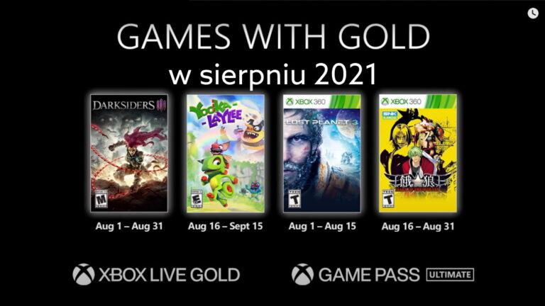 Games with Gold w sierpniu 2021. Darmowe gry z Xbox Live Gold.