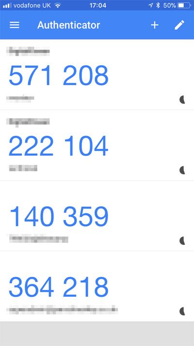 Kody autoryzujące Google Authenticator