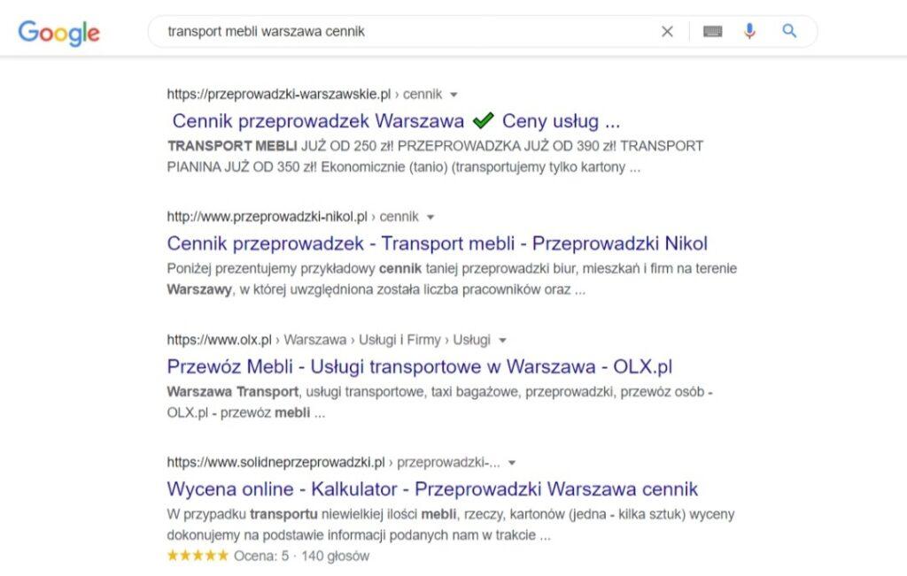Wyniki wyszukiwania Google dla ofert firm transportowych