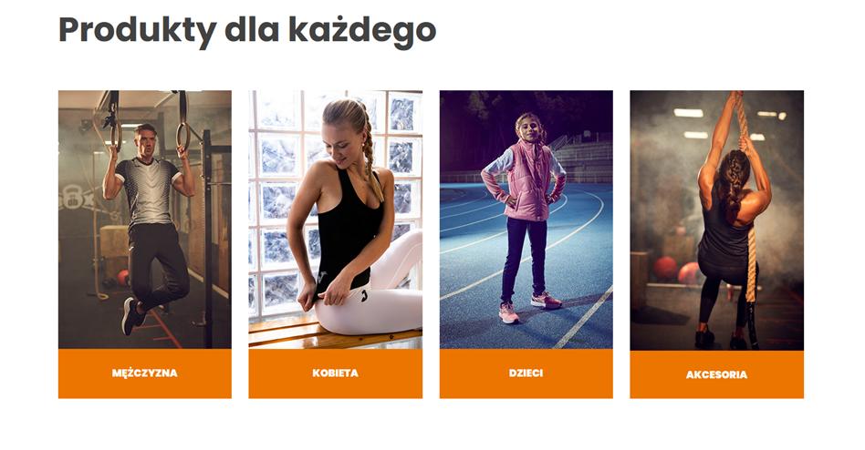 Sportowy sklep internetowy z kategoriami produktów