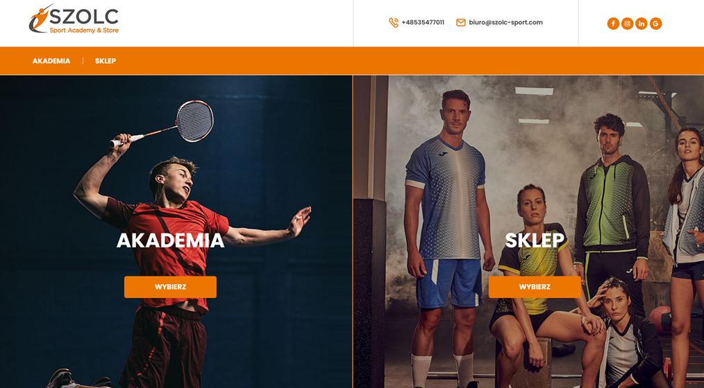 Strona internetowa dla firmy sportowej